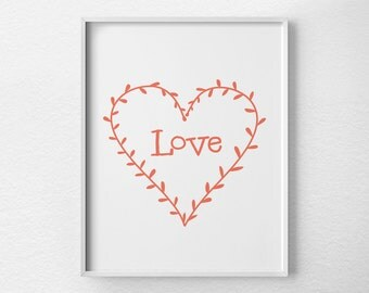 Love Art Print, Love Typography, Love Poster, Nursery Decor, Love Wreath, Love Art, Bedroom Decor, Valentines Day Decor, 0140