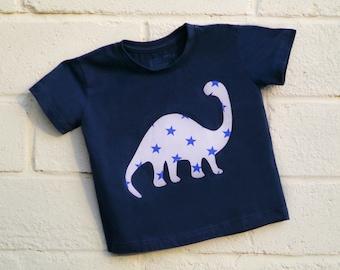 Girl, Boy, Baby Dinosaur Navy Blue T-shirt