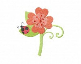 Lady Bug on Pink Flower Machine Embroidery Design