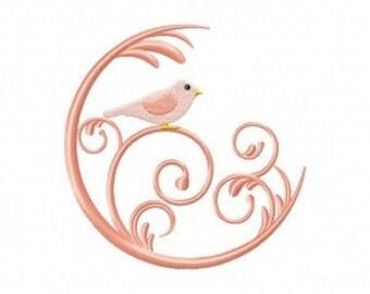 Bird In Swirl Machine Embroidery Design