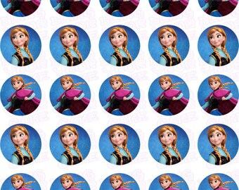 Disney Frozen Anna Edible Icing Mini-Cupcake, Brownie Bites, Cake Pops & Cookie Decor Toppers - DF9