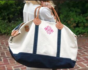Monogrammed Canvas Weekender- Canvas Weekender Bag- Christmas Gift- Bridemaid Gift- Monogrammed Duffle Bag