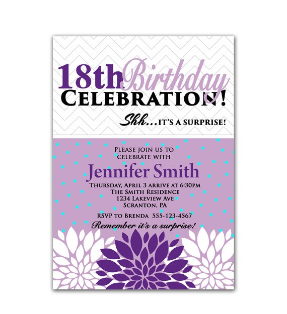 Surprise 18th Birthday Party Invitation Flower Bursts Purple