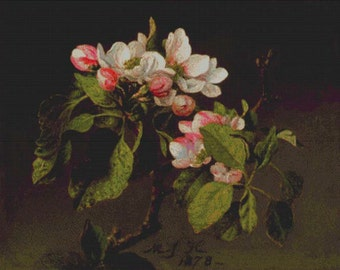 A Branch of Apple Blossoms and Buds PDF Cross Stitch Pattern