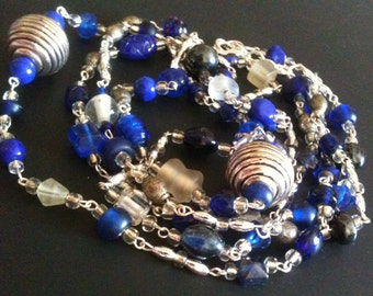 blue white & silver beaded necklace