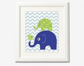 Navy and green nursery Art Print - 8x10 - Children wall art, baby boy wall decor, bird, elephant, chevron, blue, aqua, flower - UNFRAMED