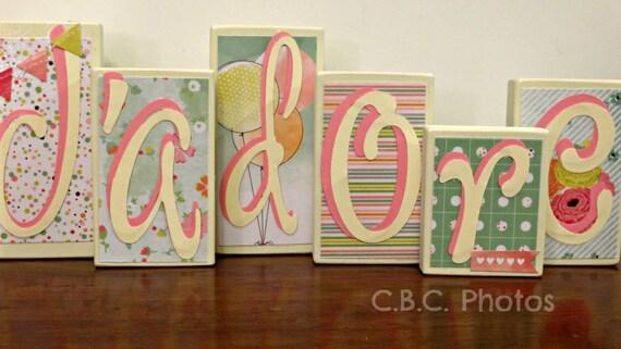 Items Similar To Home Decor Wood Letter Blocks J 39 Adore