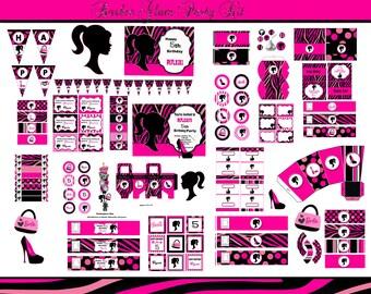 Barbie Party Barbie birthday party  Barbie theme Birthday Party Barbie invitation  pink zebra  printables