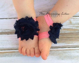Navy Blue and Coral Baby Barefoot Sandals - Newborn Baby Barefoot Sandals - Newborn Clothing- Baby Clothing Photography Prop Toddler Sandals
