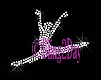 Dancing Figure - CLEAR - Iron on Rhinestone Transfer Bling Hot Fix Sports Dance Mom Bling - DIY