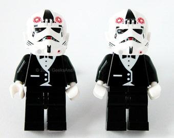 Wedding Cufflinks - LEGO Star Wars At-At Stormtrooper with Black Tuxedo Figure Silver Cufflinks - Groomsmen Gift - Best Man Cufflinks