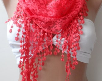 Guipure lace scarf, Elegance scarf, LACE scarf, Summer scarf, Woman Scarves, Wedding scarf, fringe, Orange scarf, Christmas scarf, gifts