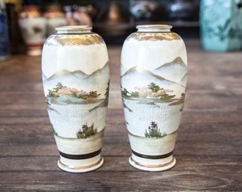 Beautiful Pair of Japanese Satsuma Vases