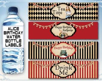 Alice water bottle labels Alice in Wonderland labels Disney Alice party