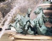 Luxembourg Garden Horse Fountain Photograph, Paris Photography, Travel Photography, Wall Art, Green Tan White, Home Decor, Wall Art