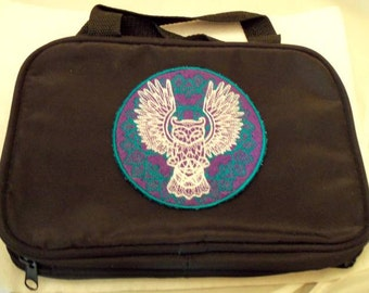 Black Zipper Bag,Embroidery,Owl ,Pentacle ,Wiccan ,Pagan,