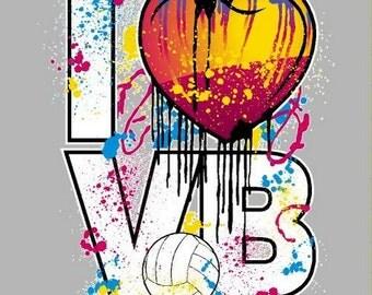 Volleyball Shirt/ Splattered Paint Volleyball I Heart VB Love Volleyball T Shirt/ Volleyball tshirt