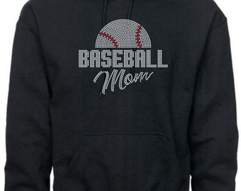 Baseball Mom Sweatshirt/ Baseball Mom Hoodie/ Rhinestone Half Baseball Mom Hoodie Sweatshirt/ Baseball Sweatshirt/ Many Colors