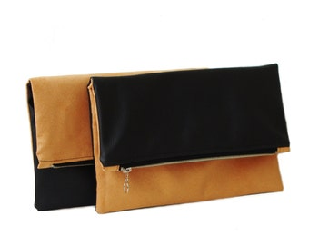 Two faces foldover clutch, faux suede vegan leather clutch, casual clutch purse, custom clutch, ochre black clutch, colorblock clutch