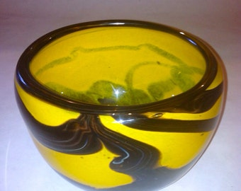 "Hand Blown Glass Art Bowl.  ""Sunflower"" Glass Bowl in Vivid Yellow.  OOAK Glass Bowl."