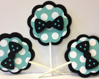 Bowtie Themed Cupcake Toppers, Set of 12, Customizable, Party Decorations