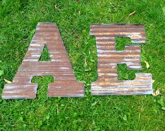 """12"""" letters made from Repurposed Barn Tin"""