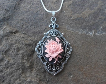 """Stunning Pink Rose (on a black background) Cameo Pendant Necklace---.925 plated 22"""" Chain--- Great Quality"""
