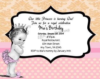 Vintage 1st Birthday Girl Invitation