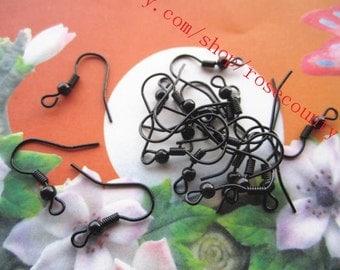 100pcs black 21mm earring hooks findings