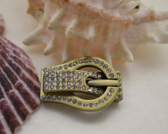 Antique Brass plated rhinestone buckle style glue in magnetic clasp