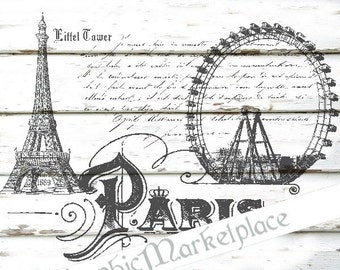 Paris Eiffel Tower French Script Instant Download Transfer Burlap digital collage sheet graphic printable No. 1438