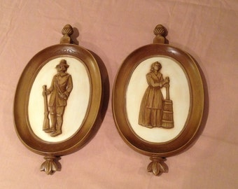 2 Vintage Collectible Wall Plaques by Syroco INC. Copyright MCMLX [1960]