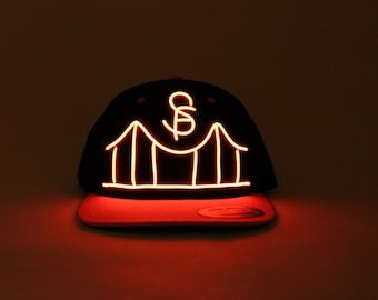 Light Up San Francisco Bridge Hat made with El Wire in all colors; blue, green, orange, yellow, pink, purple, white