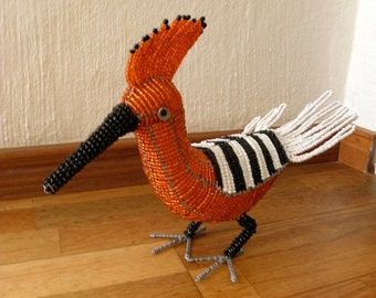 African Beaded Wire Animal  - HOOPOE - Natural