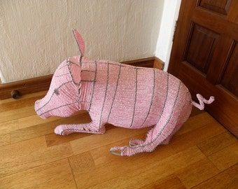 African Beaded Wire Animal Sculpture - PIG MEDIUM - Natural
