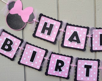 Minnie Mouse Birthday Banner pink
