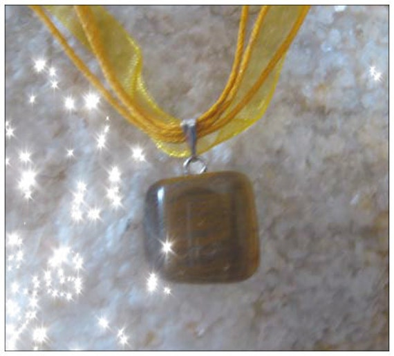 Handmade Yellow Silk Necklace with Tigers Eye by IreneDesign2011