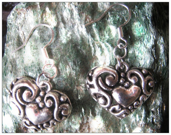 Silver Hook Earrings with Carved Silver Heart