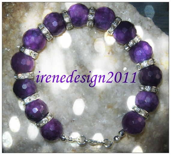Handmade Silver Bracelet with Facetted Purple Jade & Crystal by IreneDesign2011