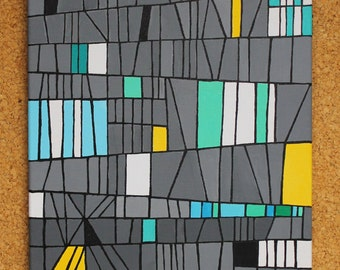 Factory Flats, acrylic & Sharpee on canvas, 30cm x 40cm