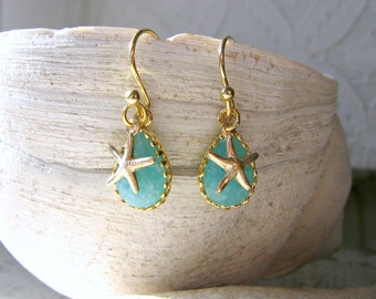 Mint Blue Gemstone & Starfish Earrings, 14k Gold Filled Ocean BlueTear drop Earrings, Beach Wedding, Bridesmaid Gifts, Mom Sister Earrings