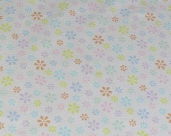 Per Yard, FLANNEL Pastel Flowers Fabric