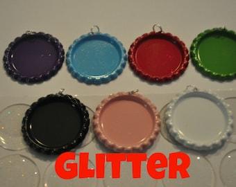 COMBO 10 Bottle Cap Pendants AND 10 glitter epoxies, You CHOOSE Colors, Flattened bottle caps split rings attached, bottlecaps and epoxy diy