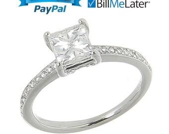 18kt 18 Karat White Gold 1.14 Ct Diamond Solitaire Engagement Ring