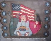 Original Handpainted All American Girl, Raggedy Ann, Flag, Watermelon, Crow, Jar with berries, Grey, Wooden Sign,