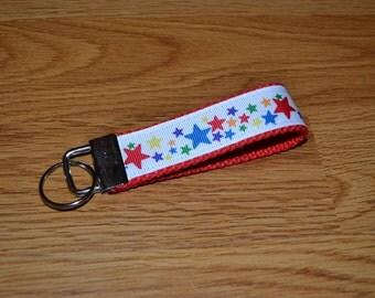 SALE! Red Rainbow Stars Keychain