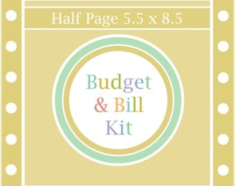 The BUDGET & BILL KIT, budget planner, monthly budget, finance printable, budget worksheet, monthly printable, pdf, A5, 5.5 x 8.5, Half Page