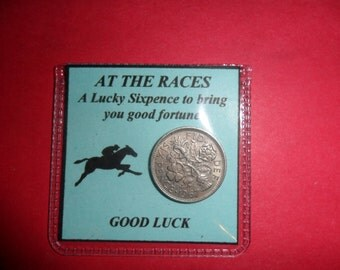Horse Racing lucky silver sixpence good luck gift