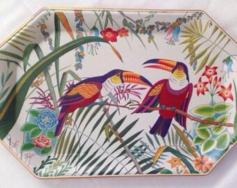 Vintage Toucans Melamine Fiberglass Look Tray