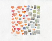 Print of watercolor love and indifference A4 abstract painting red orange hearts gray contrast squares minimalism